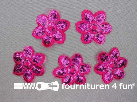 6 stuks pailletten applicatie bloem 52x52mm fuchsia