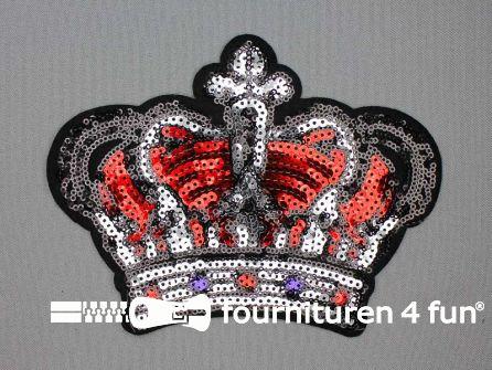 Pailletten applicatie 183x135mm kroon zilver - rood