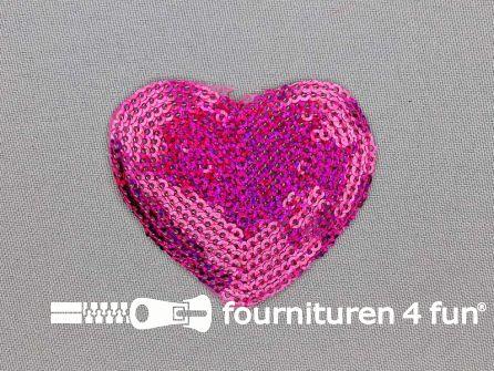 Pailletten applicatie hart 55x50mm hologram fuchsia roze