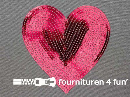 Pailletten applicatie hart 115x120mm donker roze