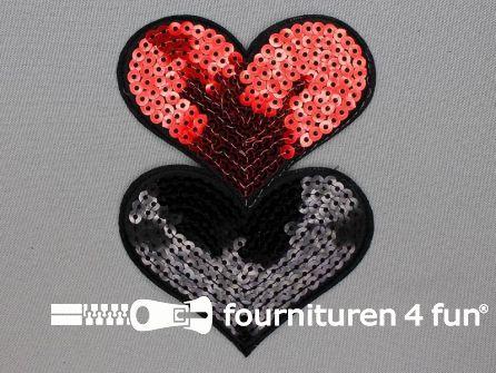 Pailletten applicatie hart 120x88mm rood - zwart