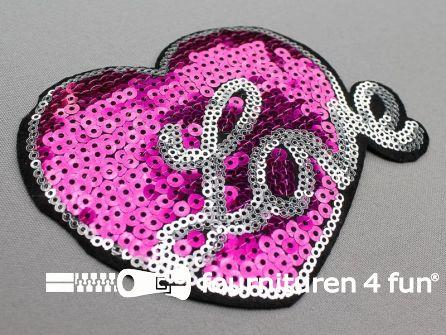 """Pailletten applicatie hart """"Love"""" 125x95mm fuchsia roze - zilver"""