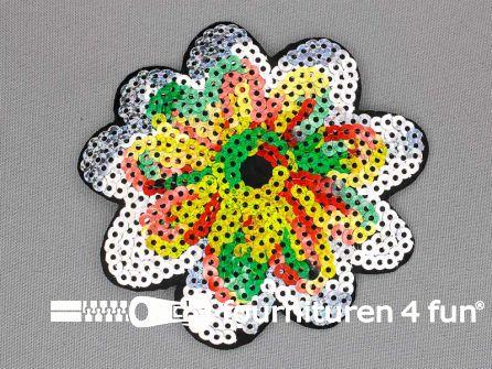 Pailletten applicatie bloem 100x100mm rood geel groen - zilver