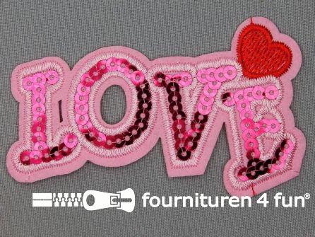 Pailletten applicatie 100x55mm love roze