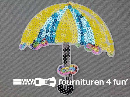 Pailletten applicatie 125x125mm paraplu aqua blauw geel multicolor