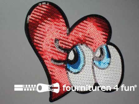 Pailletten applicatie 240x230mm groot rood hart met ogen