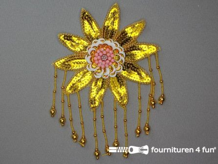 Pailletten bloem applicatie 130x200mm goud