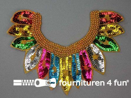 Pailletten applicatie 230x170mm inzetstuk multicolor goud