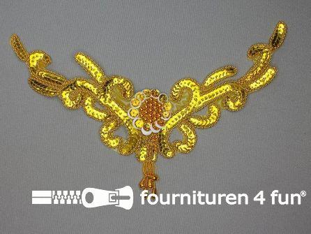 Pailletten applicatie 250x180mm inzetstuk goud
