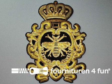 Pailletten applicatie 250x180mm goud - zwart