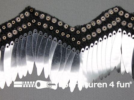 Pailletten franje 80mm zwart - zilver