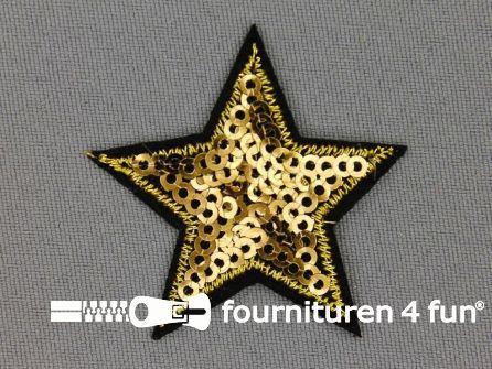 Pailletten applicatie 43x43mm ster goud zwart