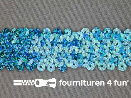 Elastische pailletten band 30mm hologram aqua blauw