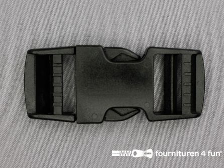 Parachute gesp 25mm zwart / heavy duty - dubbel verstelbaar