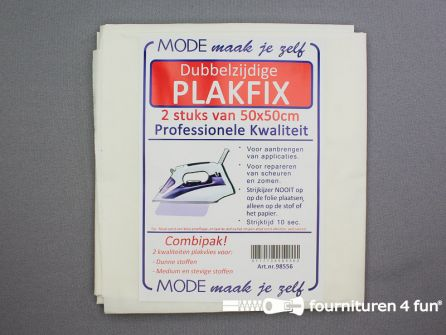 Plakfix - dubbelzijdig -  2 stuks van 50x50cm - Combipak