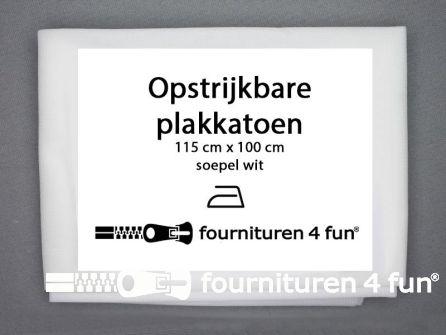 COUPON Opstrijkbare plakkatoen 115x90cm - soepel - wit
