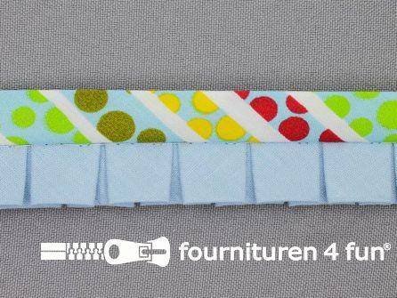 Retro plissé biasband 30mm multicolor - licht blauw