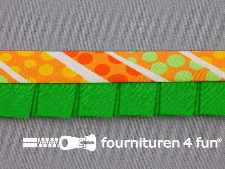 Retro plissé biasband 30mm multicolor - groen