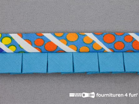 Retro plissé biasband 30mm multicolor - aqua blauw
