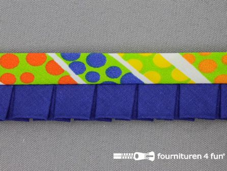 Retro plissé biasband 30mm multicolor - kobalt blauw