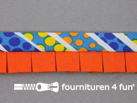 Retro plissé biasband 30mm multicolor - oranje