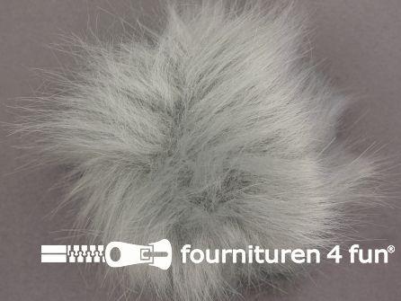 Bont pompon 12cm licht grijs