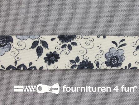 Print biasband bloem marine blauw-grijs