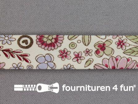Print biasband bloemen oud roze - bordeaux - lila
