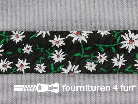 Print biasband 2 meter bloemen zwart