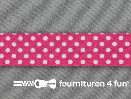 Print bias fuchsia roze met witte stippen