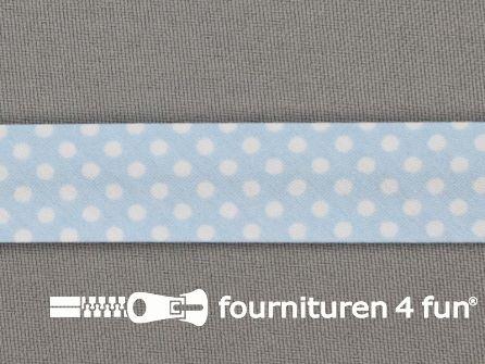 Print bias baby blauw met witte stippen