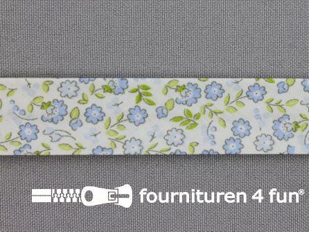Print biasband bloemen wit - blauw