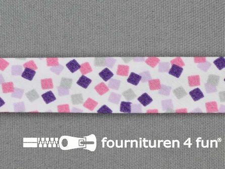 Print bias multicolor vierkantjes