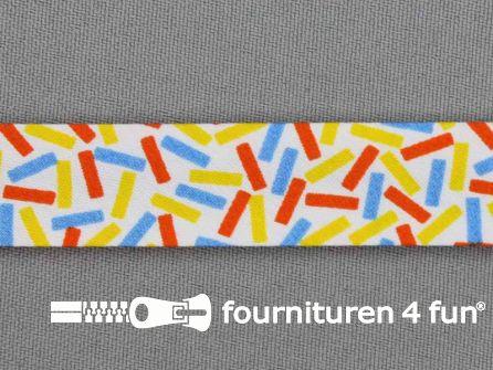 Print bias multicolor rechthoekjes