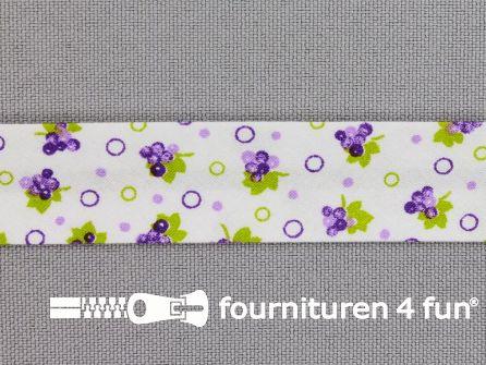 Print biasband druiven lila - paars