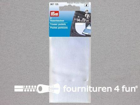Prym broekzakken - 2 stuks - opstrijkbaar katoen wit - 14x17cm - 967135