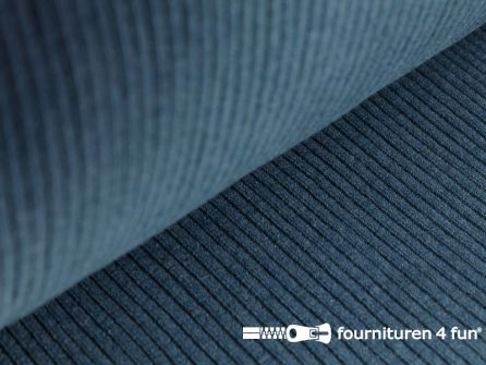 Rib boordstof 25cm jeans blauw