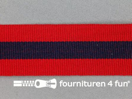 Ripsband met strepen 30mm rood - marine blauw