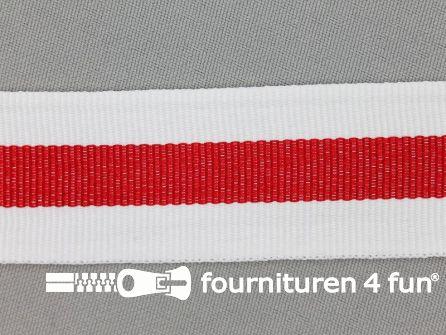 Ripsband met strepen 30mm wit - rood