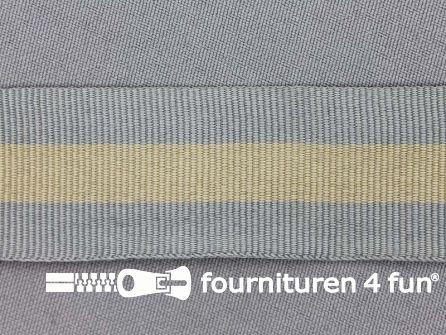 Ripsband met strepen 30mm grijs - beige
