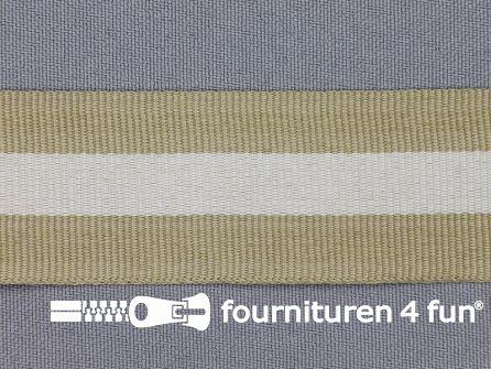 Ripsband met strepen 30mm beige - wit