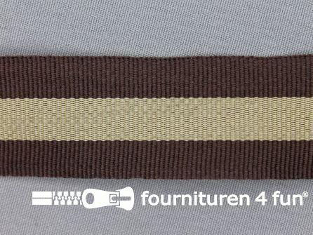 Ripsband met strepen 30mm bruin - beige