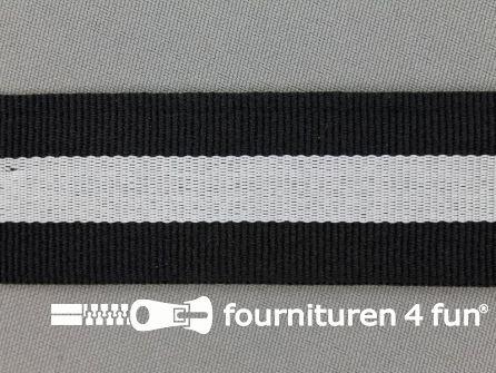 Ripsband met strepen 30mm zwart - wit