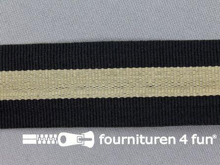 Ripsband met strepen 30mm zwart - beige