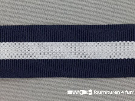 Ripsband met strepen 30mm marine blauw - wit