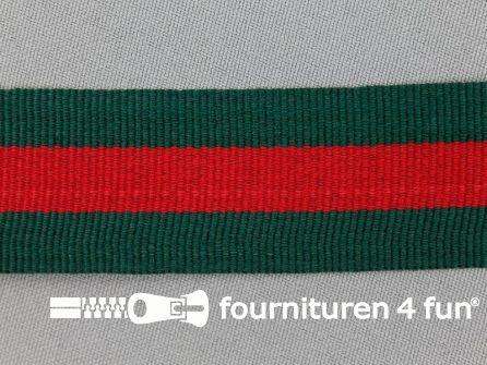 Ripsband met strepen 30mm donker groen - rood