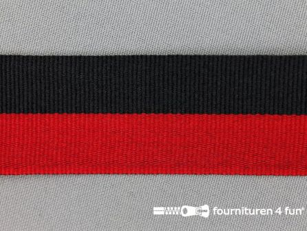 Ripsband met strepen 30mm rood - zwart