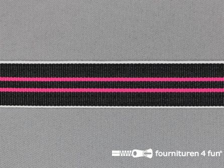 Ripsband met strepen 20mm fuchsia - wit - zwart