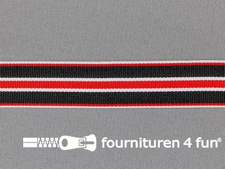 Ripsband met strepen 20mm rood - wit - zwart
