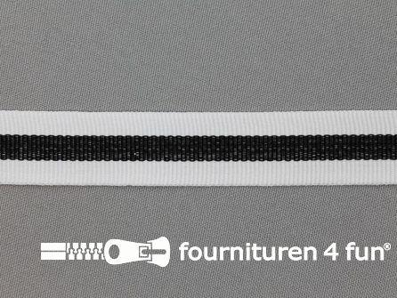 Ripsband met strepen 20mm wit - zwart